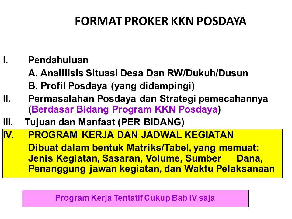 FORMAT PROKER KKN POSDAYA Program Kerja Tentatif Cukup Bab IV saja I. Pendahuluan A. Analilisis Situasi Desa Dan RW/Dukuh/Dusun B. Profil Posdaya (yan