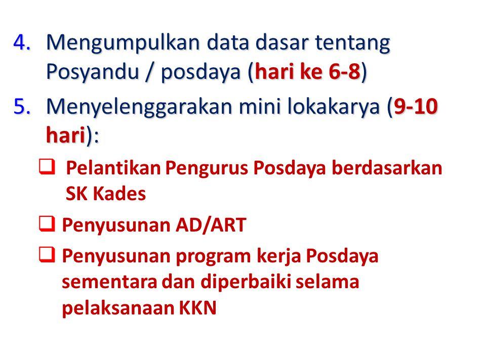 4.Mengumpulkan data dasar tentang Posyandu / posdaya (hari ke 6-8) 5.Menyelenggarakan mini lokakarya (9-10 hari):  Pelantikan Pengurus Posdaya berdas