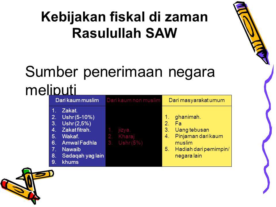 Kebijakan fiskal di zaman Rasulullah saw Kharaj (sejenis pajak tanah), Zakat, kums (pajak 1/5), jizya (sejenis pajak atas badan orang non Muslim) dan