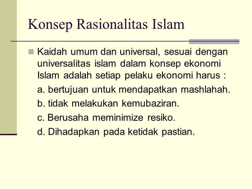 Konsep Rasionalitas Islam Asumsi dalam analisis ekonomi didasarkan pada pertimbangan rasionalitas. Argumentasi yg dibangun memenuhi kaidah- kaidah log
