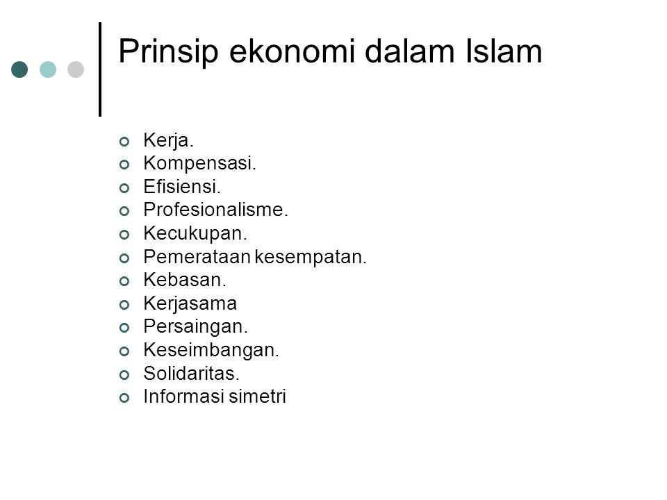 Nialai-nilai dasar ekonomi Islam Adl 1. persamaan kompensasi. 2. persamaan hukum. 3. moderat. 4. proporsional Khilafah (tanggung jawab) sebagai khalif