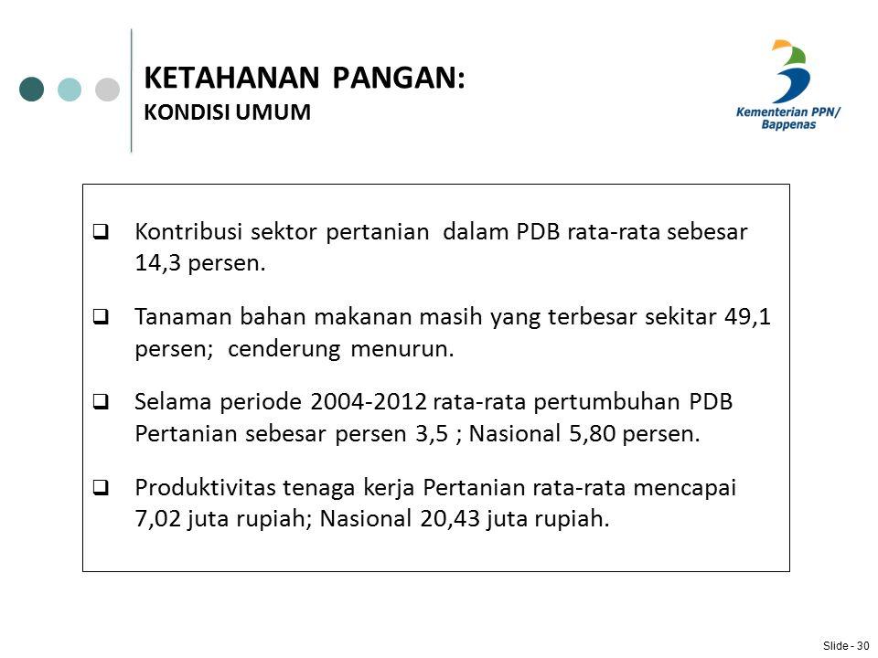KETAHANAN PANGAN: KONDISI UMUM  Kontribusi sektor pertanian dalam PDB rata-rata sebesar 14,3 persen.