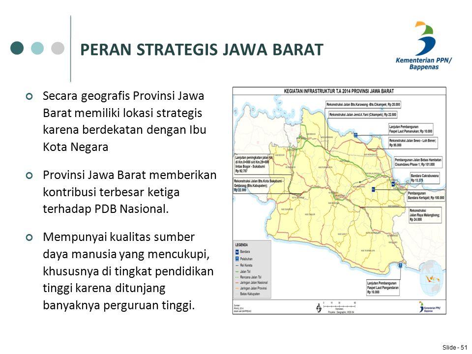 PERAN STRATEGIS JAWA BARAT Secara geografis Provinsi Jawa Barat memiliki lokasi strategis karena berdekatan dengan Ibu Kota Negara Provinsi Jawa Barat memberikan kontribusi terbesar ketiga terhadap PDB Nasional.