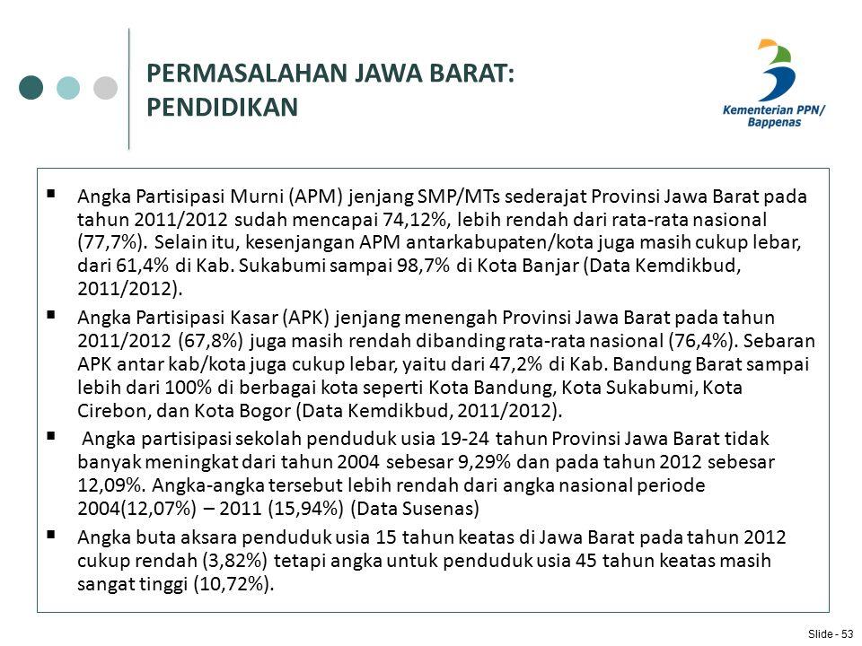 PERMASALAHAN JAWA BARAT: PENDIDIKAN  Angka Partisipasi Murni (APM) jenjang SMP/MTs sederajat Provinsi Jawa Barat pada tahun 2011/2012 sudah mencapai 74,12%, lebih rendah dari rata-rata nasional (77,7%).