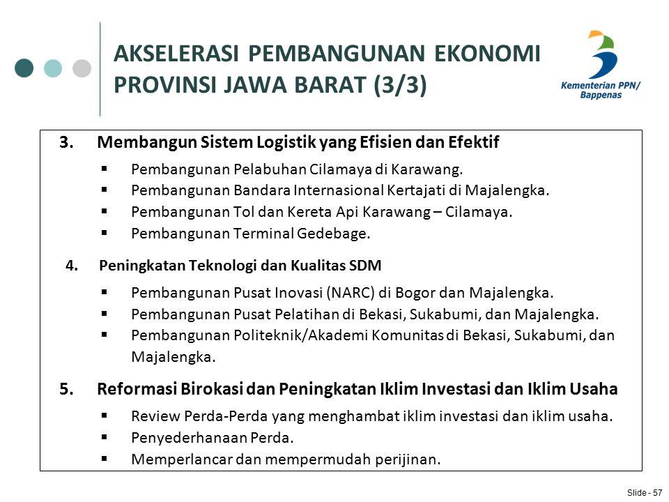 AKSELERASI PEMBANGUNAN EKONOMI PROVINSI JAWA BARAT (3/3) 3.Membangun Sistem Logistik yang Efisien dan Efektif  Pembangunan Pelabuhan Cilamaya di Karawang.
