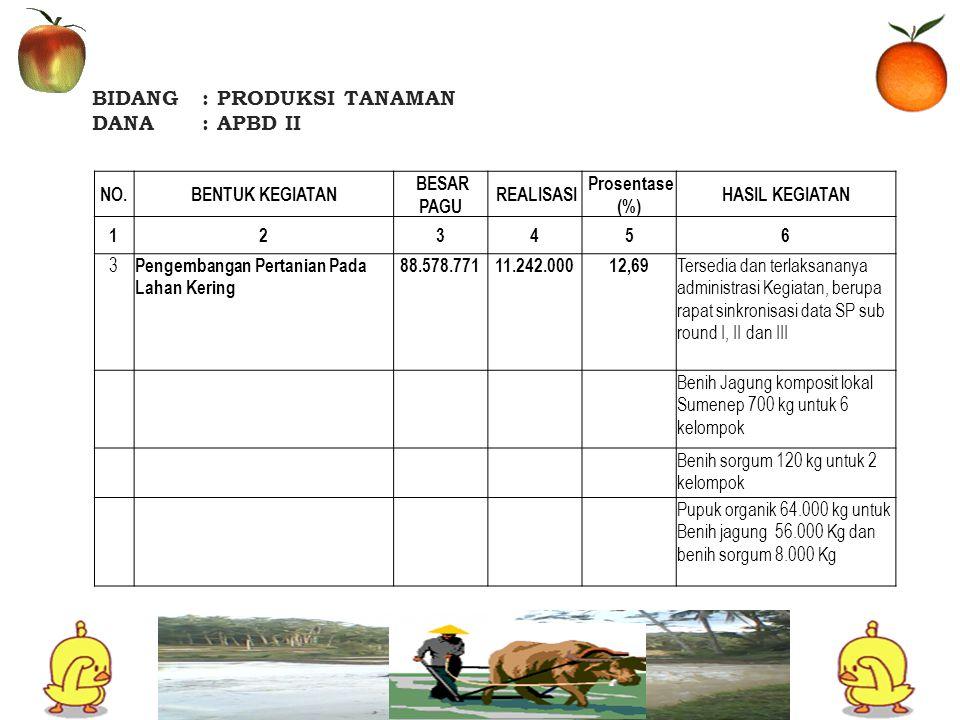 BIDANG: PRODUKSI TANAMAN DANA: APBD II NO.BENTUK KEGIATAN BESAR PAGU REALISASI Prosentase (%) HASIL KEGIATAN 123456 4 Pengembangan Perbenihan/Pembibitan 50.000.0008.369.00016,74 Tersedianya AP kegiatan untuk pengawalan bantuan dan monev Benih Srikaya langsar 1000 btg untuk 2 Kelompok Benih pisang 360 phn untuk 1 kelompok pupuk organik 15000 kg untuk 3 kelompok 5 Pengembangan Hortikultura Tanaman Semusim 61.877.00021.272.00034,38 Terlaksanya Rapat Koordinasi Tk.