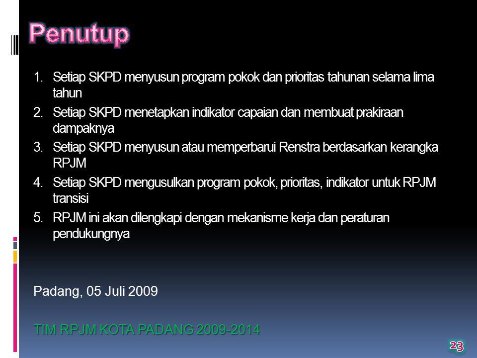 1.Setiap SKPD menyusun program pokok dan prioritas tahunan selama lima tahun 2.Setiap SKPD menetapkan indikator capaian dan membuat prakiraan dampaknya 3.Setiap SKPD menyusun atau memperbarui Renstra berdasarkan kerangka RPJM 4.Setiap SKPD mengusulkan program pokok, prioritas, indikator untuk RPJM transisi 5.RPJM ini akan dilengkapi dengan mekanisme kerja dan peraturan pendukungnya Padang, 05 Juli 2009 TIM RPJM KOTA PADANG 2009-2014