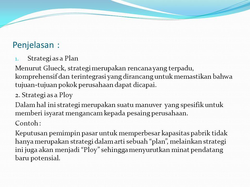 Penjelasan : 1. Strategi as a Plan Menurut Glueck, strategi merupakan rencana yang terpadu, komprehensif dan terintegrasi yang dirancang untuk memasti
