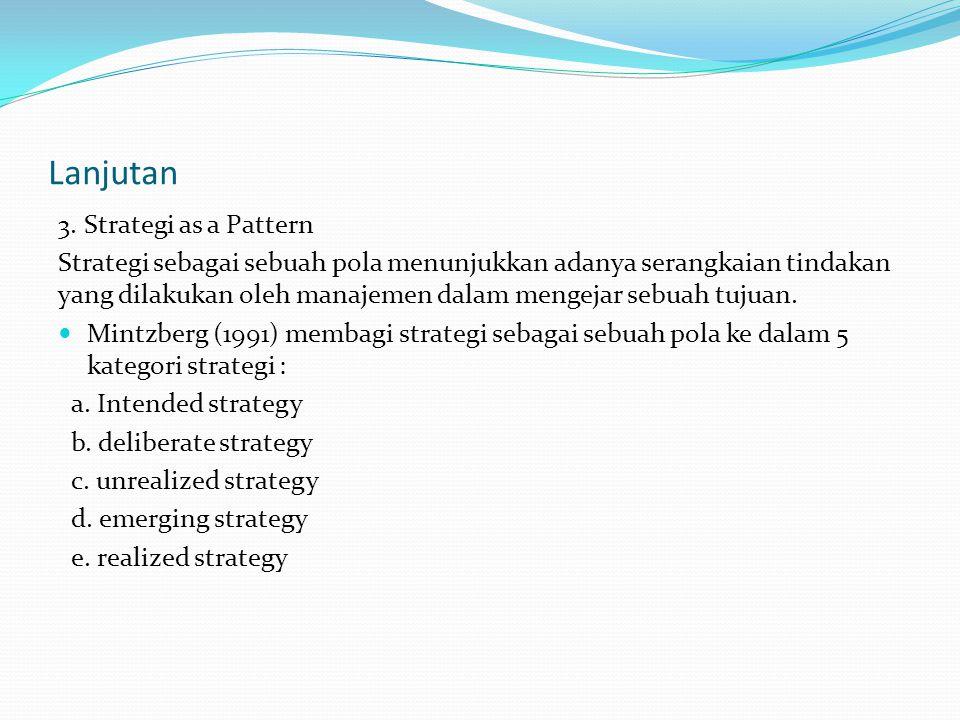 Lanjutan 3. Strategi as a Pattern Strategi sebagai sebuah pola menunjukkan adanya serangkaian tindakan yang dilakukan oleh manajemen dalam mengejar se