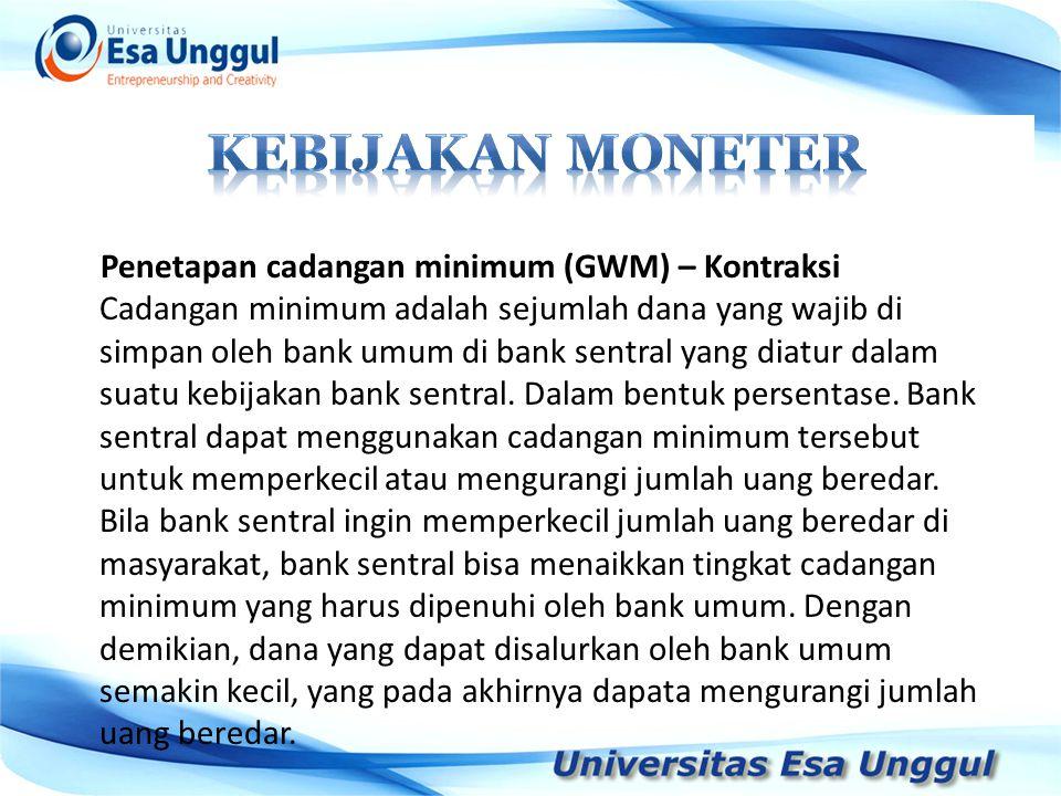 Penetapan cadangan minimum (GWM) – Kontraksi Cadangan minimum adalah sejumlah dana yang wajib di simpan oleh bank umum di bank sentral yang diatur dal