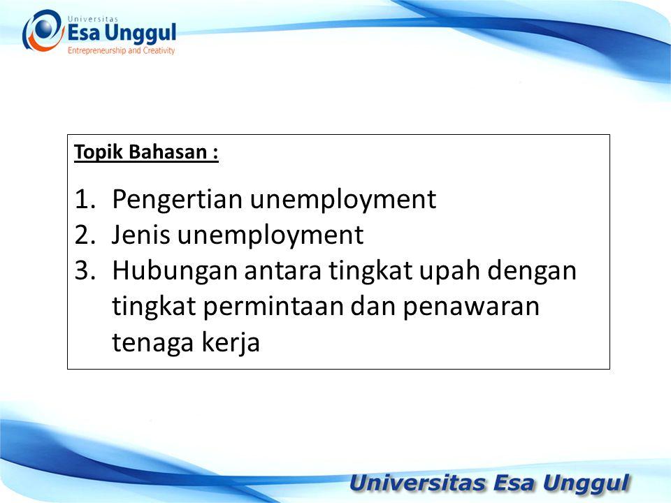 Topik Bahasan : 1.Pengertian unemployment 2.Jenis unemployment 3.Hubungan antara tingkat upah dengan tingkat permintaan dan penawaran tenaga kerja