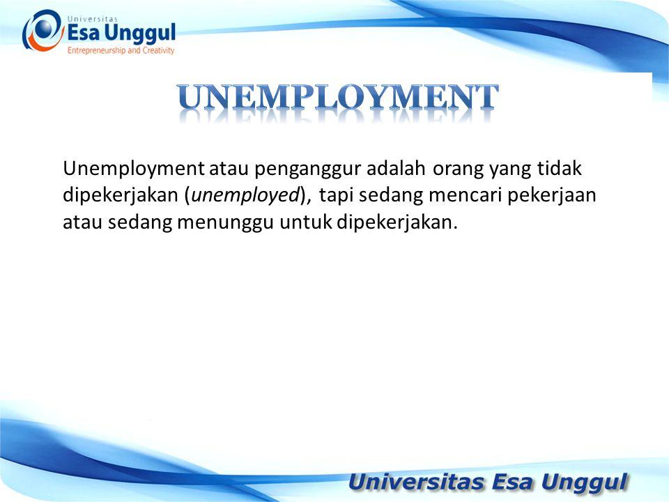 Unemployment atau penganggur adalah orang yang tidak dipekerjakan (unemployed), tapi sedang mencari pekerjaan atau sedang menunggu untuk dipekerjakan.