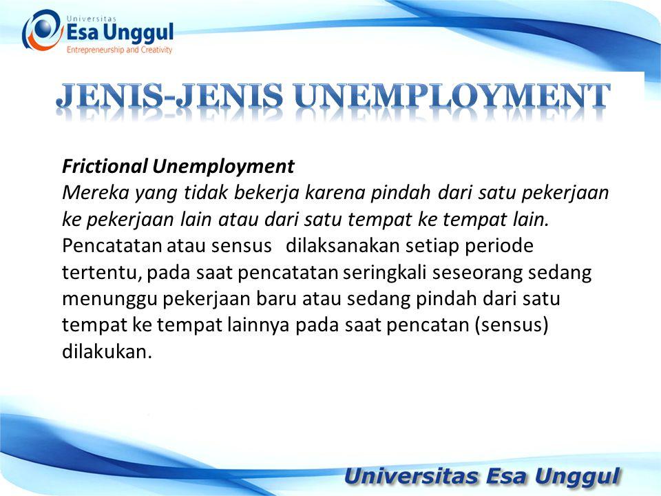 Frictional Unemployment Mereka yang tidak bekerja karena pindah dari satu pekerjaan ke pekerjaan lain atau dari satu tempat ke tempat lain. Pencatatan