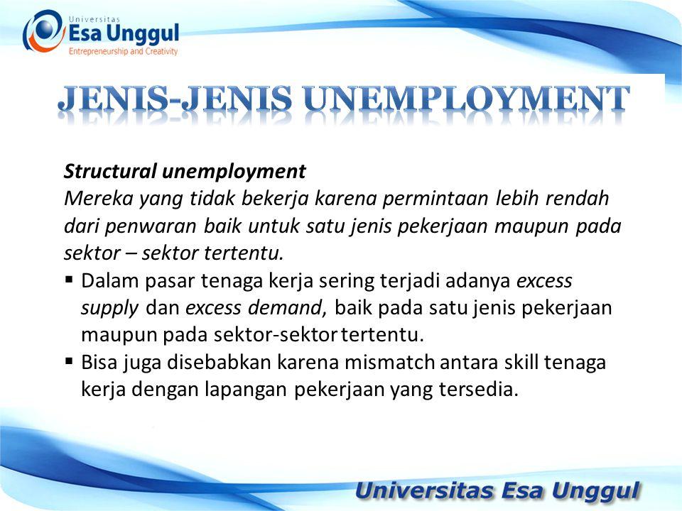 Structural unemployment Mereka yang tidak bekerja karena permintaan lebih rendah dari penwaran baik untuk satu jenis pekerjaan maupun pada sektor – se