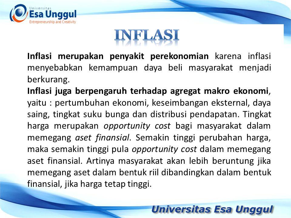 Inflasi merupakan penyakit perekonomian karena inflasi menyebabkan kemampuan daya beli masyarakat menjadi berkurang. Inflasi juga berpengaruh terhadap