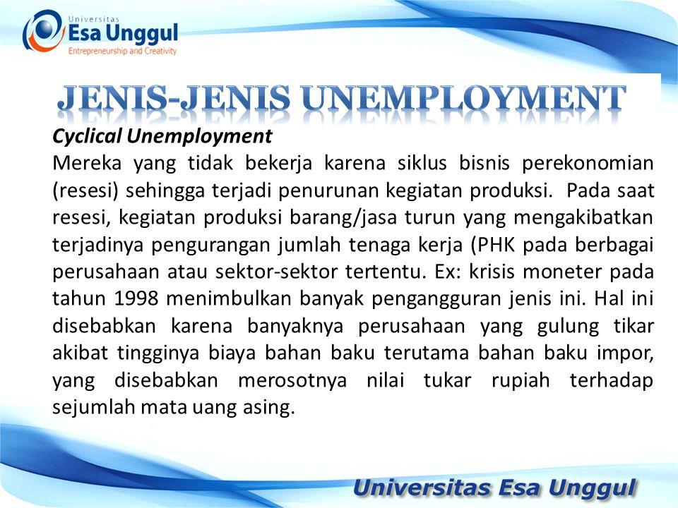 Cyclical Unemployment Mereka yang tidak bekerja karena siklus bisnis perekonomian (resesi) sehingga terjadi penurunan kegiatan produksi. Pada saat res