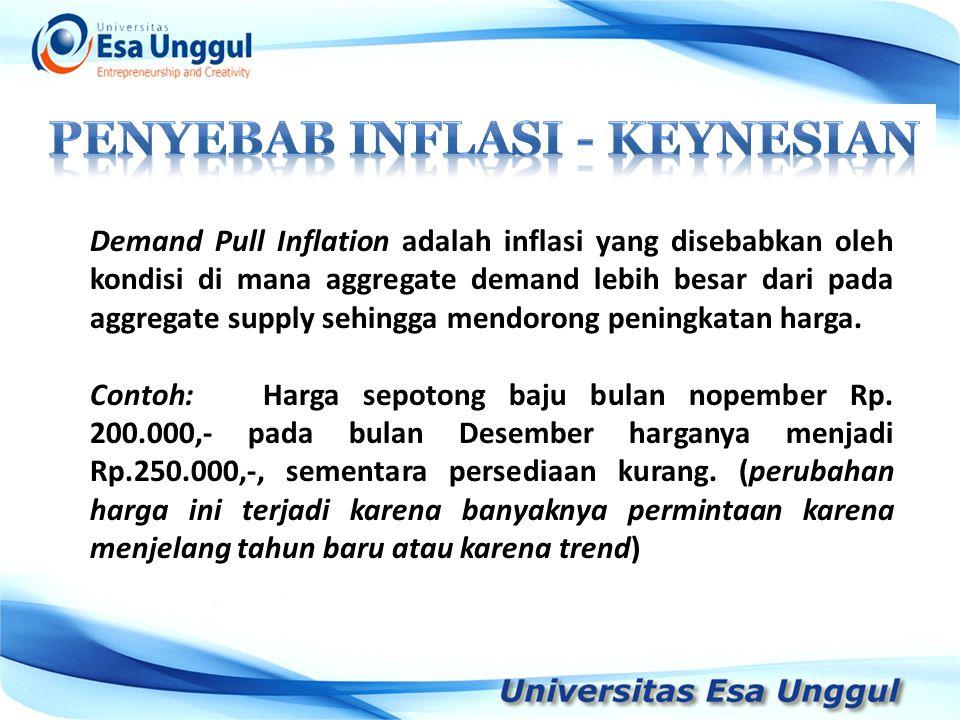 Demand Pull Inflation adalah inflasi yang disebabkan oleh kondisi di mana aggregate demand lebih besar dari pada aggregate supply sehingga mendorong p