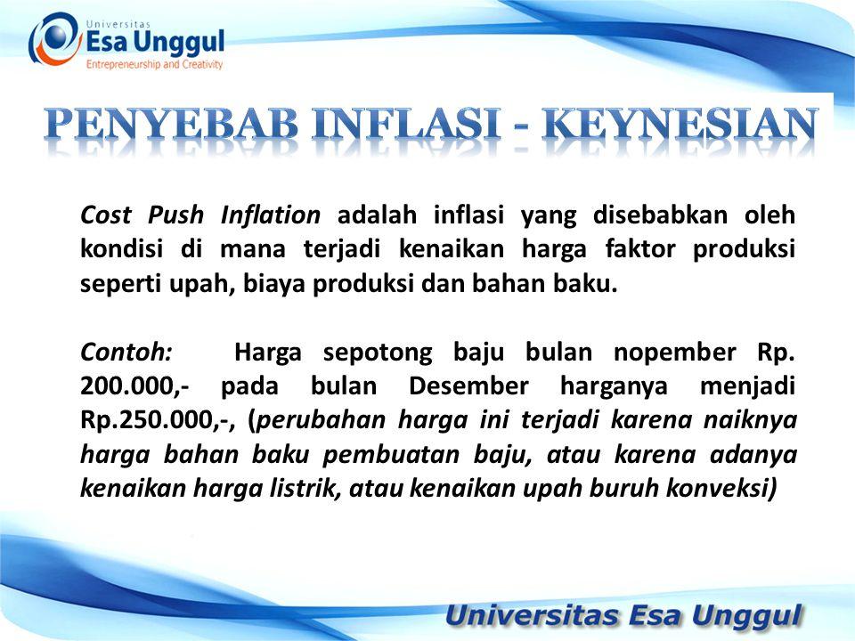 Cost Push Inflation adalah inflasi yang disebabkan oleh kondisi di mana terjadi kenaikan harga faktor produksi seperti upah, biaya produksi dan bahan