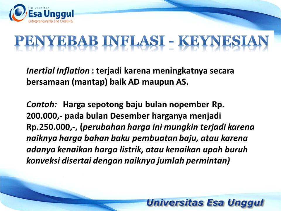 Inertial Inflation : terjadi karena meningkatnya secara bersamaan (mantap) baik AD maupun AS. Contoh: Harga sepotong baju bulan nopember Rp. 200.000,-
