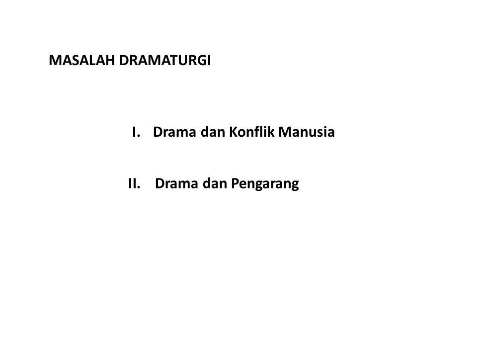 MASALAH DRAMATURGI I.Drama dan Konflik Manusia II.Drama dan Pengarang