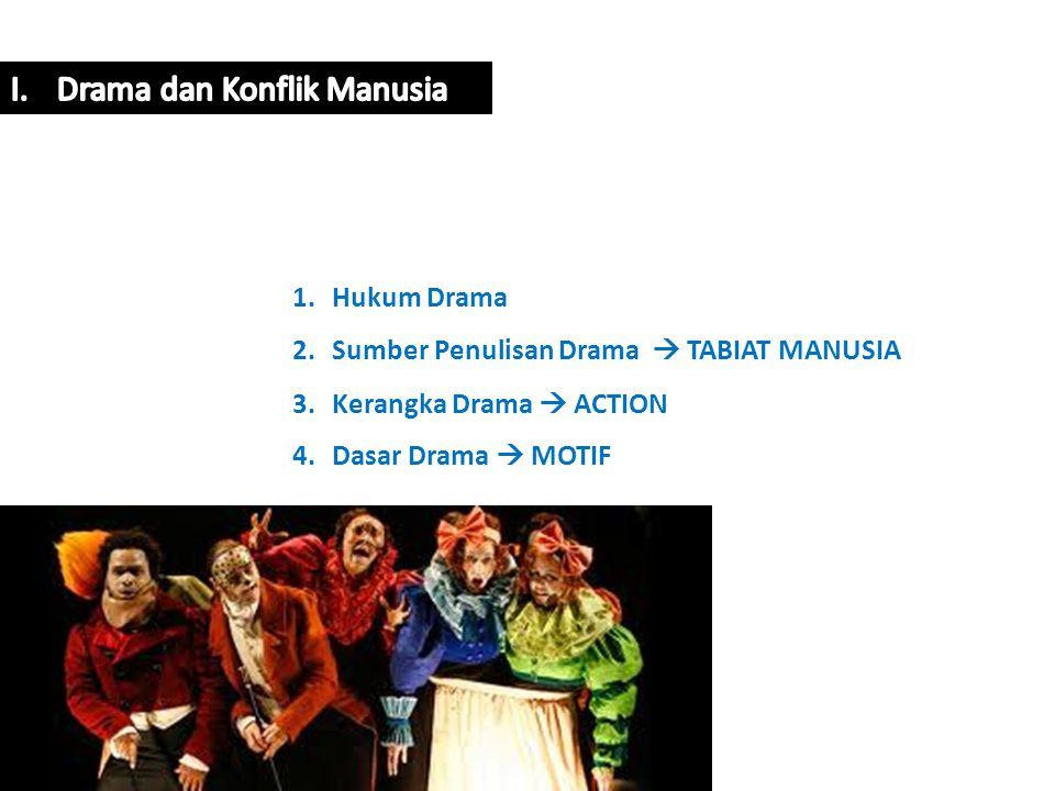 1.Hukum Drama 2.Sumber Penulisan Drama  TABIAT MANUSIA 3.Kerangka Drama  ACTION 4.Dasar Drama  MOTIF