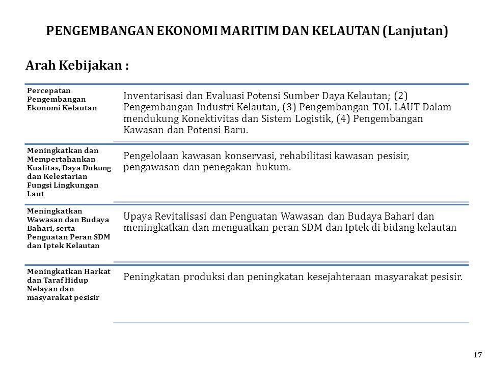 PENGEMBANGAN EKONOMI MARITIM DAN KELAUTAN (Lanjutan) Arah Kebijakan : Percepatan Pengembangan Ekonomi Kelautan Inventarisasi dan Evaluasi Potensi Sumb
