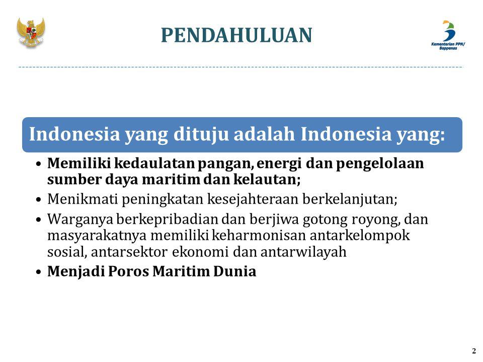 3 SEBAGAI POROS MARITIM DUNIA Wilayah perairan Indonesia termasuk paling aman di dunia bagi semua aktifitas di laut; Industri perkapalan tumbuh dan berkembang Cara pemanfaatan sumber daya alam di laut dan kawasan pesisir mengedepankan prinsip yang beriringan antara produktifitas dan kelestarian Budaya pesisir Indonesia yang tumbuh sebagai peradaban yang menonjol di mata dunia Ada kesungguhan untuk melakukan pemulihan ekosistem laut yang rusak dan memelihara yang masih utuh