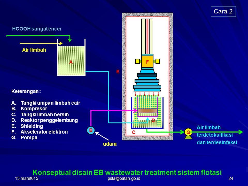 Air limbah HCOOH sangat encer A Keterangan : A.Tangki umpan limbah cair B.Kompresor C.Tangki limbah bersih D.Reaktor penggelembung E.Shielding F.Akselerator elektron G.Pompa E C F udara G Air limbah terdetoksifikasi dan terdesinfeksi Konseptual disain EB wastewater treatment sistem flotasi             B D Cara 2 13 maret01524 psta@batan.go.id