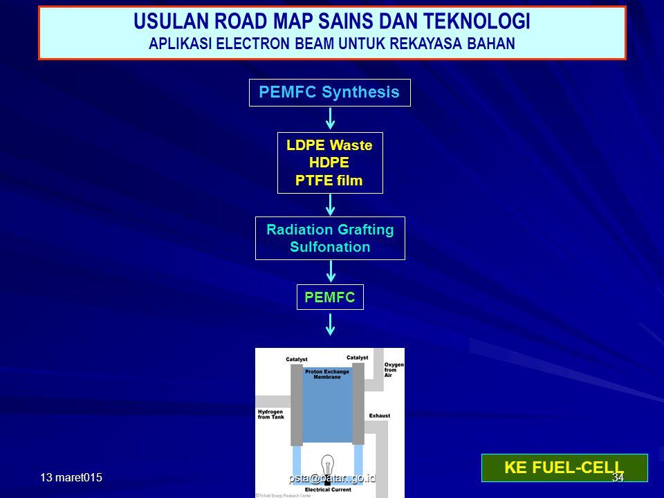 PEMFC Synthesis LDPE Waste HDPE PTFE film Radiation Grafting Sulfonation PEMFC USULAN ROAD MAP SAINS DAN TEKNOLOGI APLIKASI ELECTRON BEAM UNTUK REKAYASA BAHAN KE FUEL-CELL 13 maret01534 psta@batan.go.id