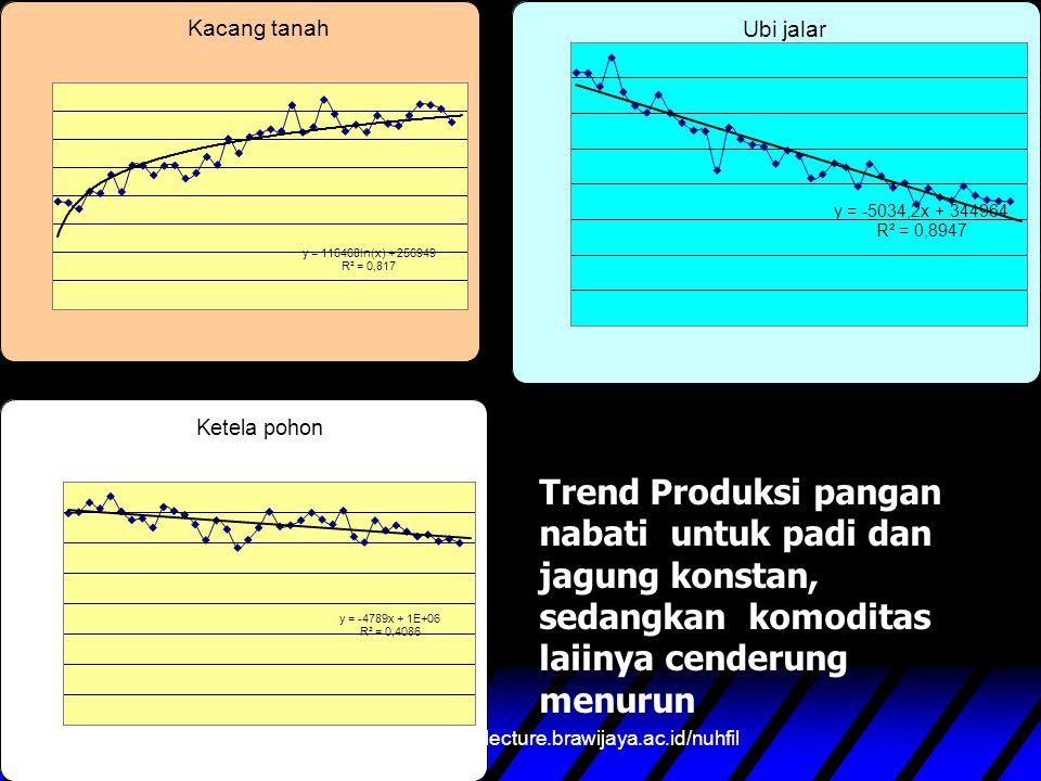 Trend Produksi pangan nabati untuk padi dan jagung konstan, sedangkan komoditas laiinya cenderung menurun nuhfil hanani : www.lecture.brawijaya.ac.id/nuhfil