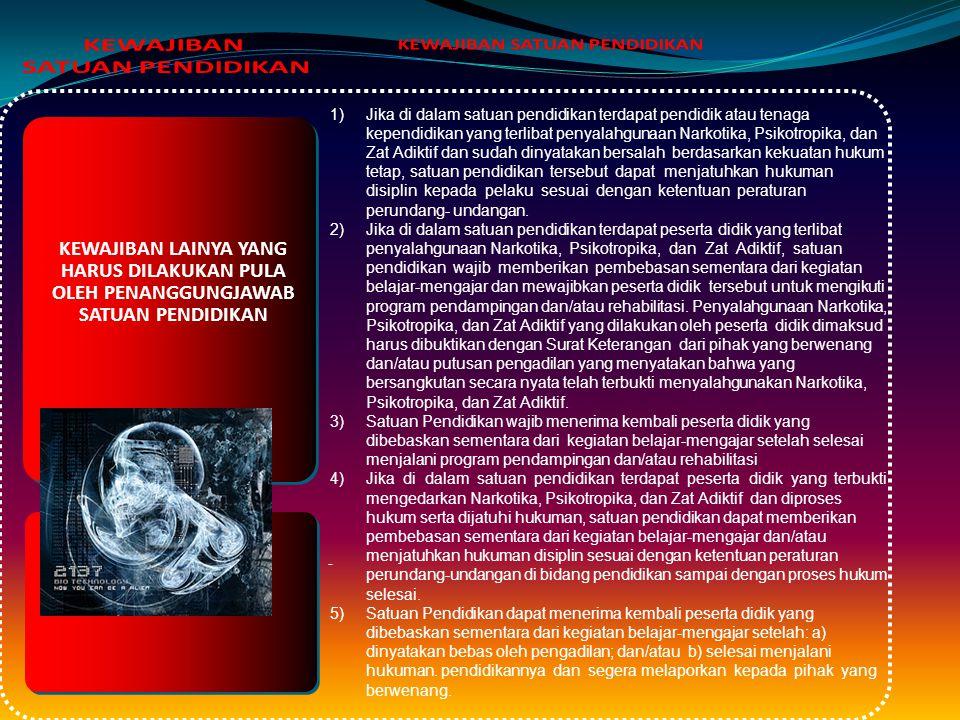 KEWAJIBAN PENANGGUNGJAWB SATUAN PENDIDIKAN 1)menyusun dan menetapkan kebijakan serta mengawasi pelaksanaan kebijakan pencegahan penyalahgunaan dan per