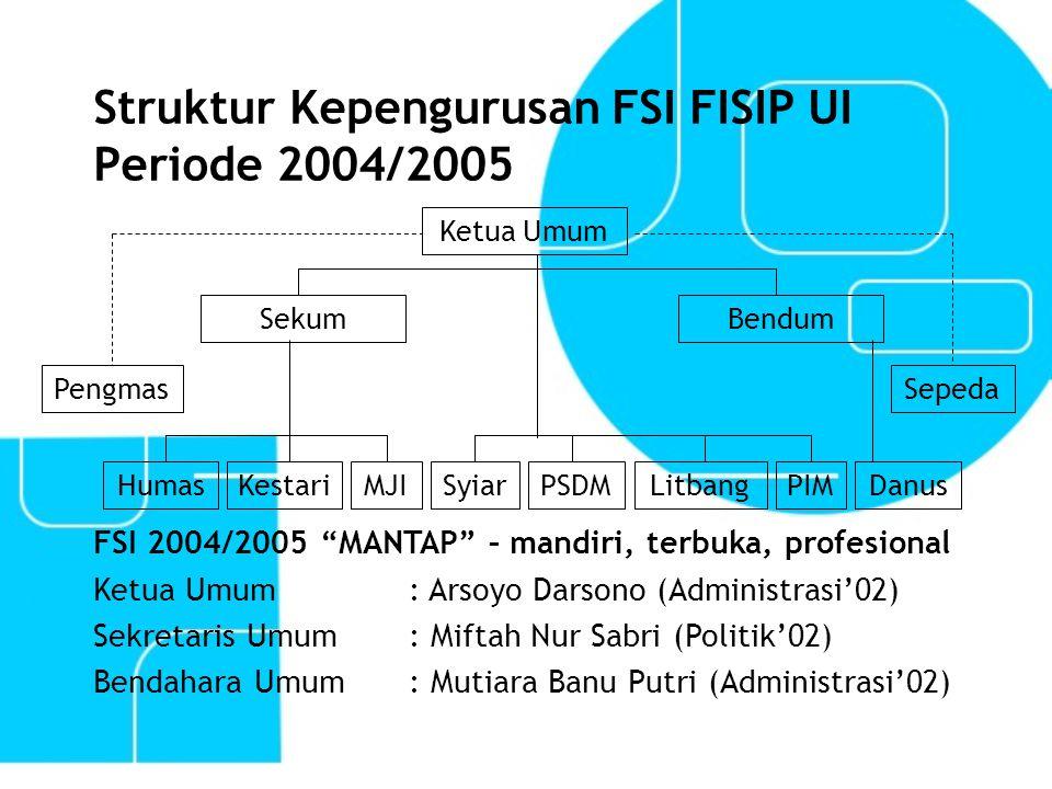 "Struktur Kepengurusan FSI FISIP UI Periode 2004/2005 Sepeda LitbangDanus Pengmas SyiarHumasMJIPIMPSDMKestari Ketua Umum BendumSekum FSI 2004/2005 ""MAN"