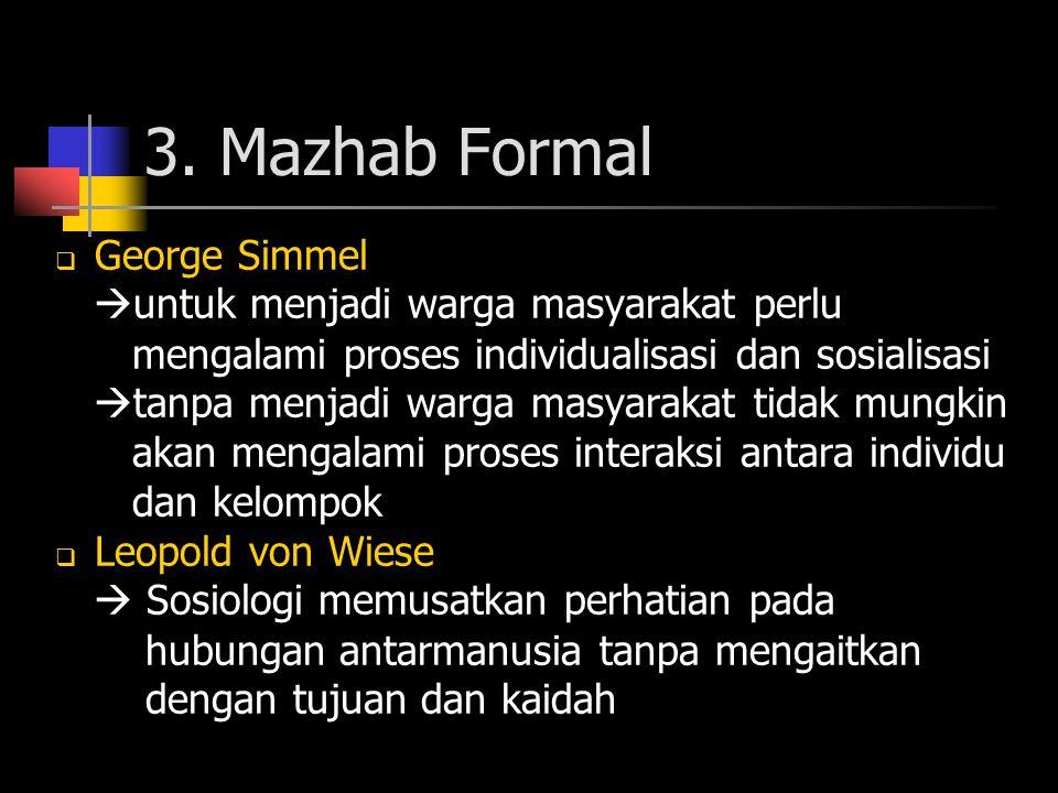 3. Mazhab Formal  George Simmel  untuk menjadi warga masyarakat perlu mengalami proses individualisasi dan sosialisasi  tanpa menjadi warga masyara