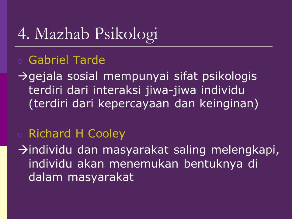 4. Mazhab Psikologi o Gabriel Tarde  gejala sosial mempunyai sifat psikologis terdiri dari interaksi jiwa-jiwa individu (terdiri dari kepercayaan dan