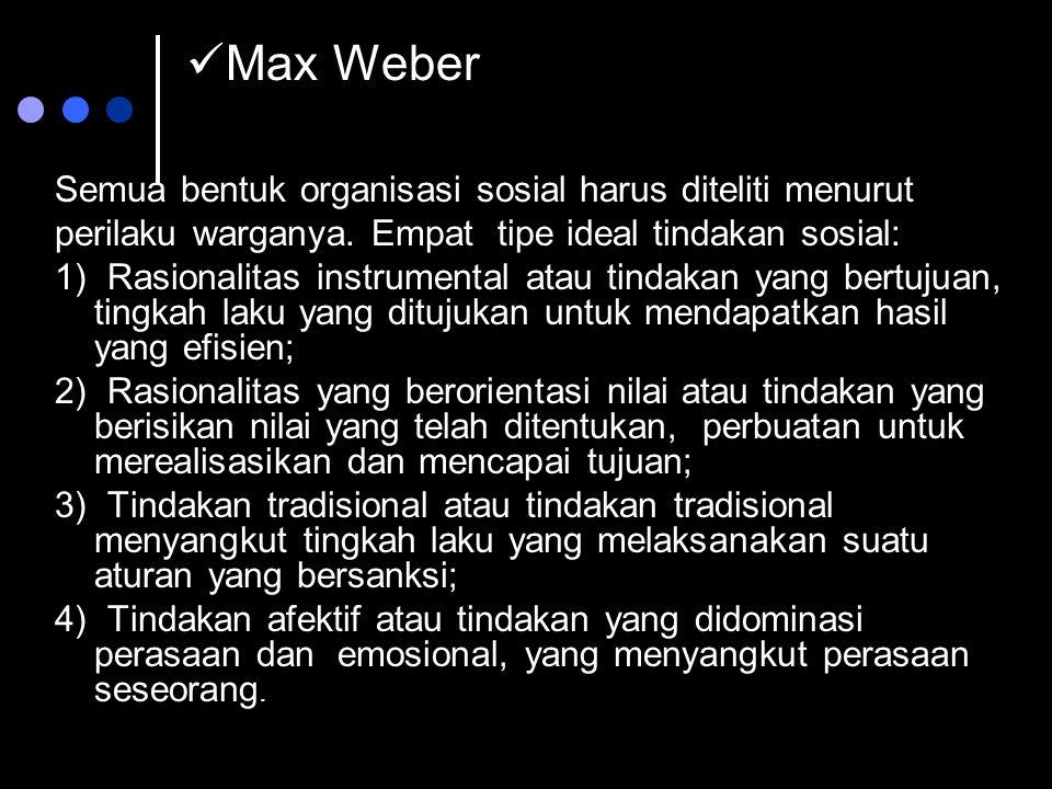 Max Weber Semua bentuk organisasi sosial harus diteliti menurut perilaku warganya. Empat tipe ideal tindakan sosial: 1) Rasionalitas instrumental atau