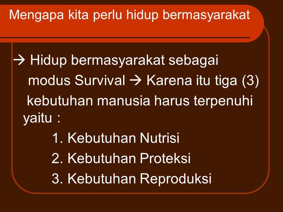 Mengapa kita perlu hidup bermasyarakat  Hidup bermasyarakat sebagai modus Survival  Karena itu tiga (3) kebutuhan manusia harus terpenuhi yaitu : 1.