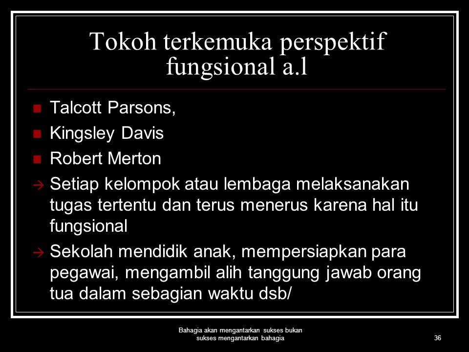 36 Bahagia akan mengantarkan sukses bukan sukses mengantarkan bahagia Tokoh terkemuka perspektif fungsional a.l Talcott Parsons, Kingsley Davis Robert