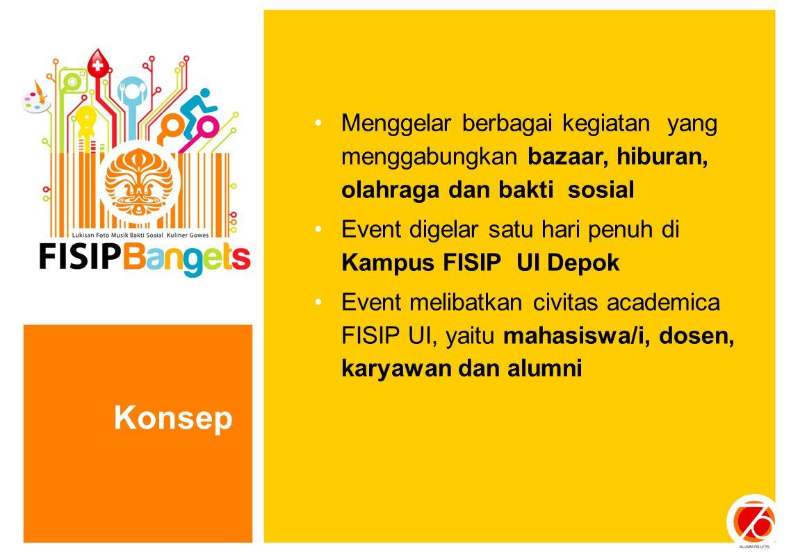 Konsep Menggelar berbagai kegiatan yang menggabungkan bazaar, hiburan, olahraga dan bakti sosial Event digelar satu hari penuh di Kampus FISIP UI Depo