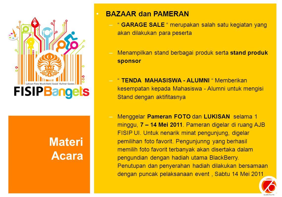 """BAZAAR dan PAMERAN –"""" GARAGE SALE """" merupakan salah satu kegiatan yang akan dilakukan para peserta –Menampilkan stand berbagai produk serta stand prod"""