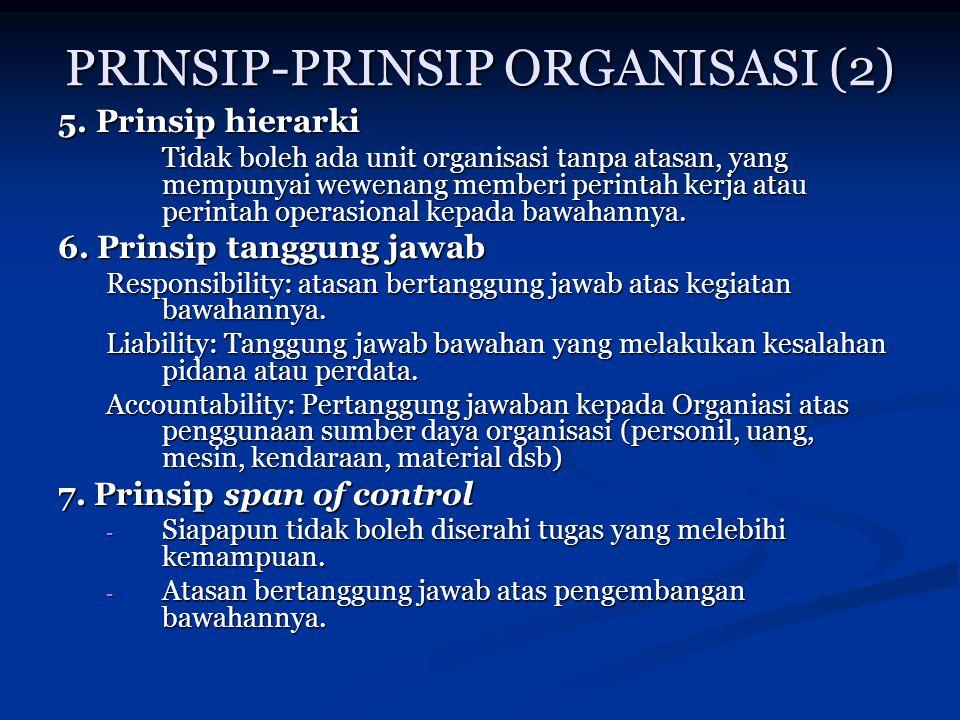 PRINSIP-PRINSIP ORGANISASI (2) 5. Prinsip hierarki Tidak boleh ada unit organisasi tanpa atasan, yang mempunyai wewenang memberi perintah kerja atau p