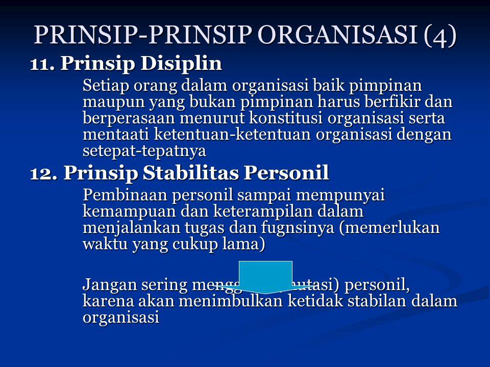PRINSIP-PRINSIP ORGANISASI (4) 11. Prinsip Disiplin Setiap orang dalam organisasi baik pimpinan maupun yang bukan pimpinan harus berfikir dan berperas
