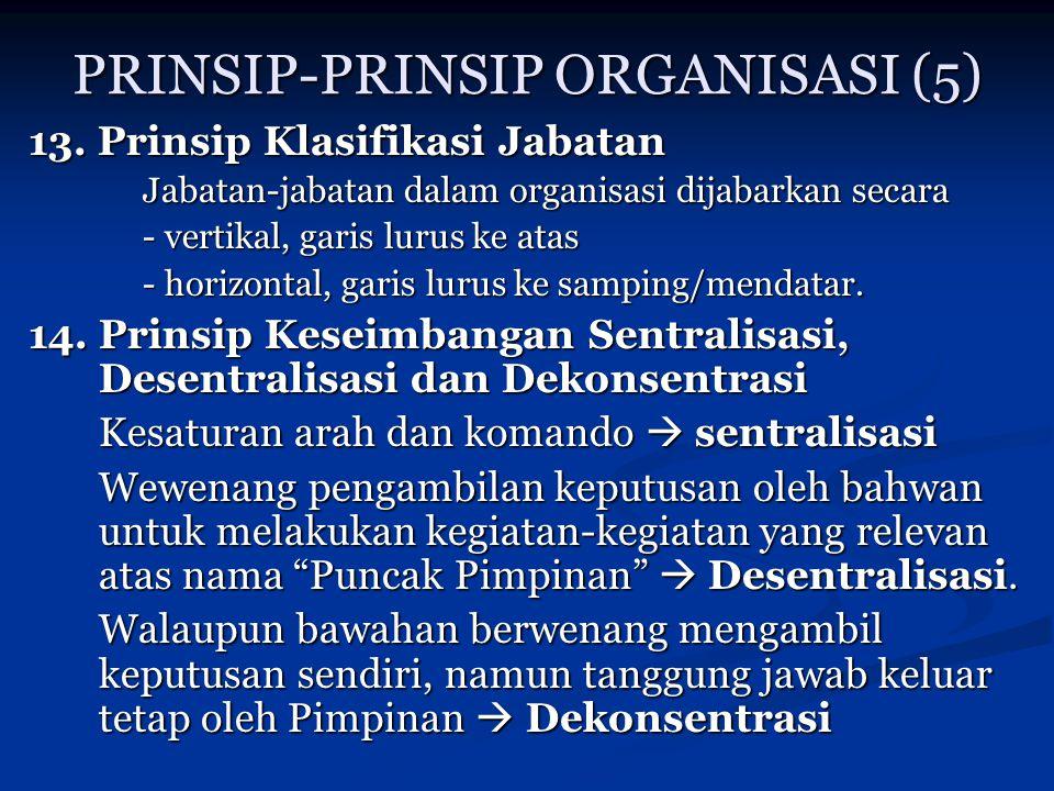 PRINSIP-PRINSIP ORGANISASI (5) 13. Prinsip Klasifikasi Jabatan Jabatan-jabatan dalam organisasi dijabarkan secara - vertikal, garis lurus ke atas - ho