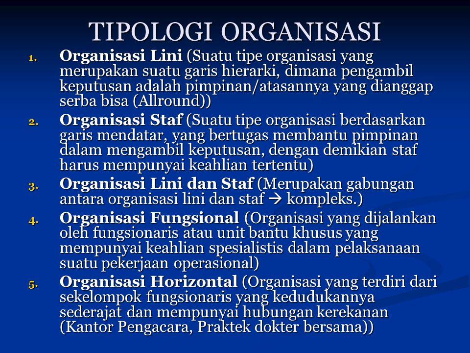 TIPOLOGI ORGANISASI 1. Organisasi Lini (Suatu tipe organisasi yang merupakan suatu garis hierarki, dimana pengambil keputusan adalah pimpinan/atasanny