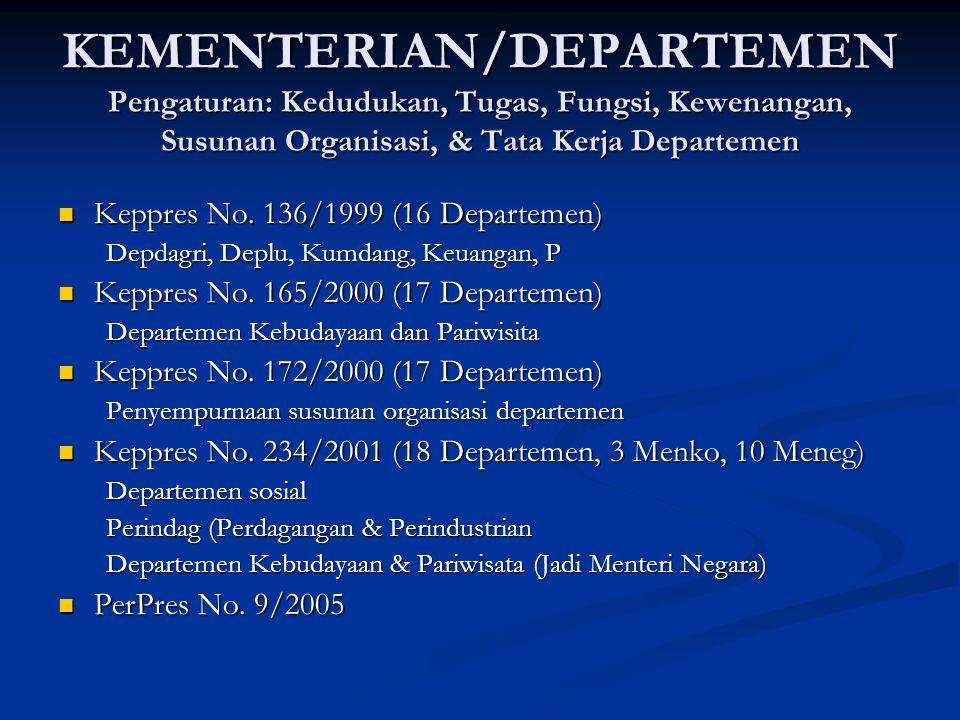 KEMENTERIAN/DEPARTEMEN Pengaturan: Kedudukan, Tugas, Fungsi, Kewenangan, Susunan Organisasi, & Tata Kerja Departemen Keppres No. 136/1999 (16 Departem