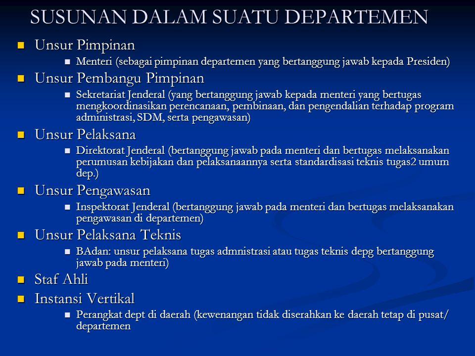 SUSUNAN DALAM SUATU DEPARTEMEN Unsur Pimpinan Unsur Pimpinan Menteri (sebagai pimpinan departemen yang bertanggung jawab kepada Presiden) Menteri (seb