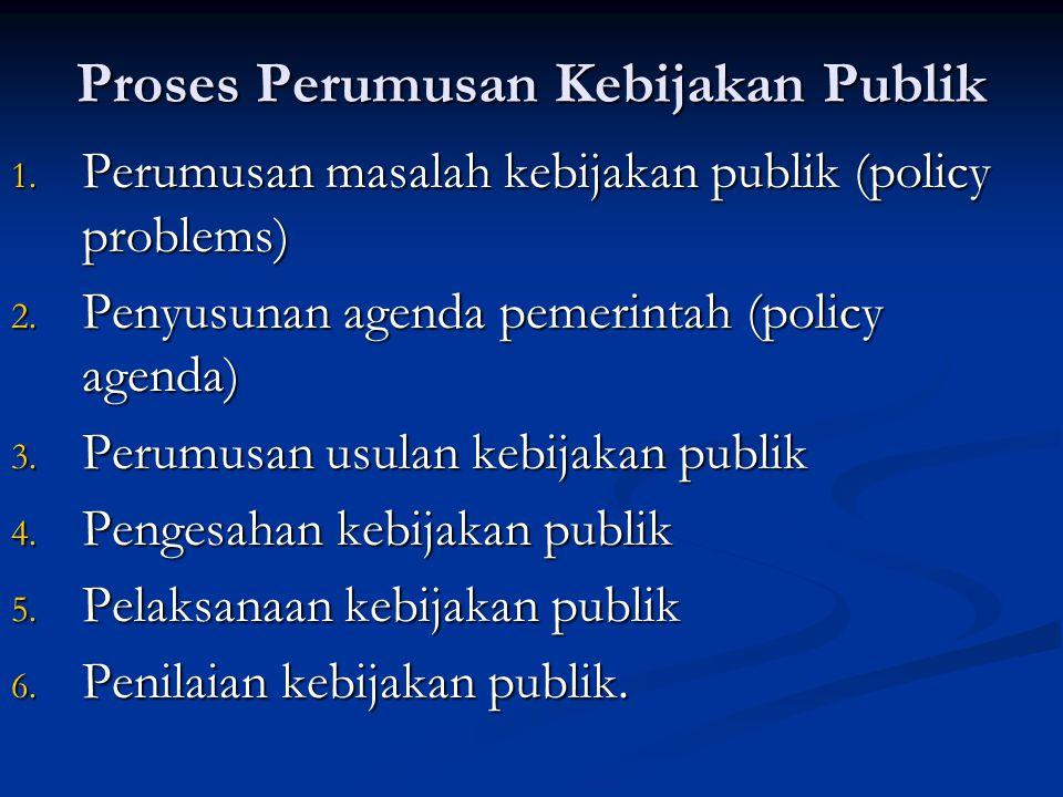 Proses Perumusan Kebijakan Publik 1. Perumusan masalah kebijakan publik (policy problems) 2. Penyusunan agenda pemerintah (policy agenda) 3. Perumusan