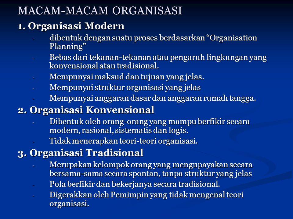 """MACAM-MACAM ORGANISASI 1. Organisasi Modern - dibentuk dengan suatu proses berdasarkan """"Organisation Planning"""" - Bebas dari tekanan-tekanan atau penga"""