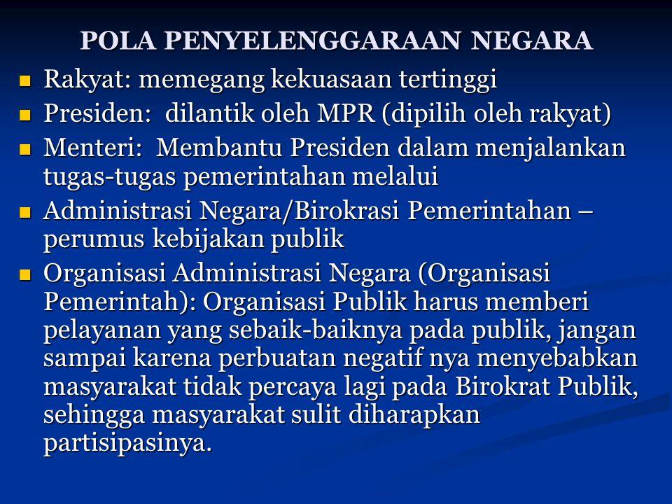 POLA PENYELENGGARAAN NEGARA Rakyat: memegang kekuasaan tertinggi Rakyat: memegang kekuasaan tertinggi Presiden: dilantik oleh MPR (dipilih oleh rakyat