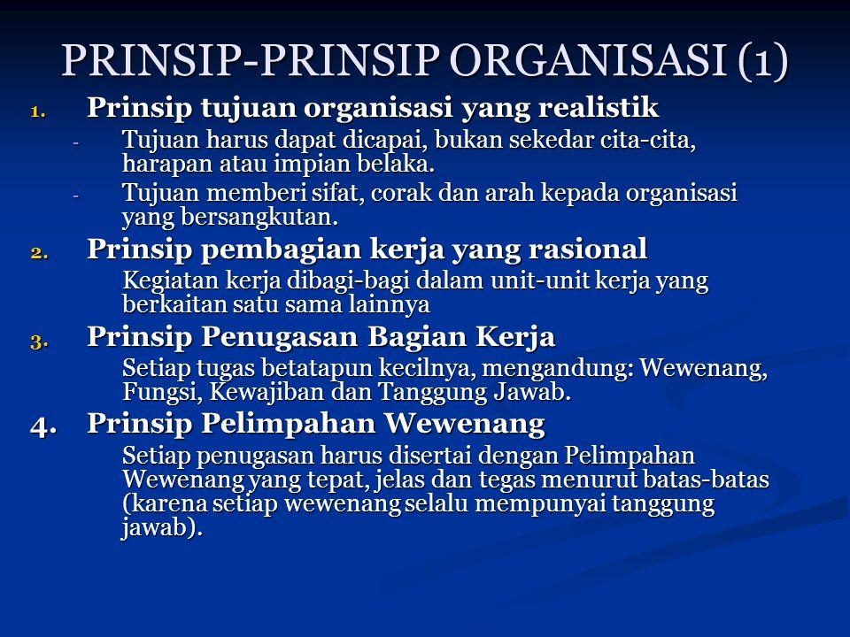 PRINSIP-PRINSIP ORGANISASI (1) 1. Prinsip tujuan organisasi yang realistik - Tujuan harus dapat dicapai, bukan sekedar cita-cita, harapan atau impian