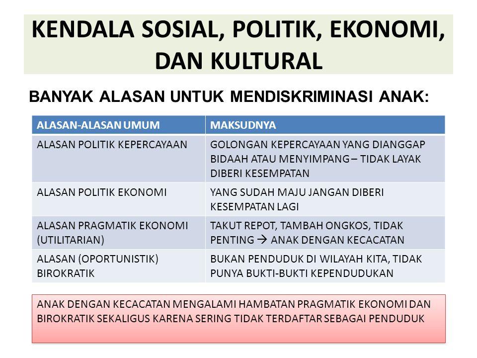 KENDALA SOSIAL, POLITIK, EKONOMI, DAN KULTURAL BANYAK ALASAN UNTUK MENDISKRIMINASI ANAK: ALASAN-ALASAN UMUMMAKSUDNYA ALASAN POLITIK KEPERCAYAANGOLONGA